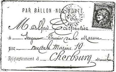Une enveloppe ayant voyagé par ballon monté