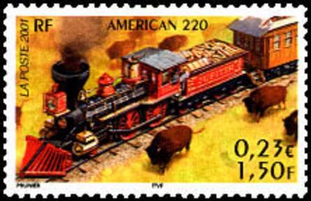 Timbre du bloc les locomotives de 2001